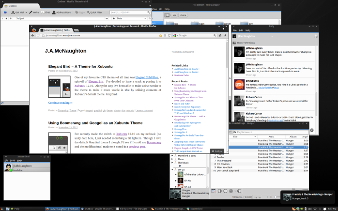 The Elegant Bird theme on Xubuntu 12.10